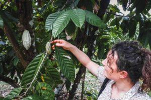 Marion au Mexique avec une fève de cacao